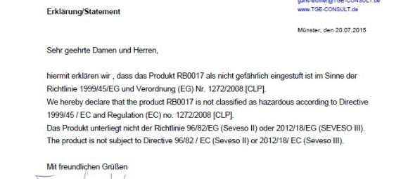 Reagent Certificate